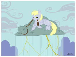 MLP - Derpy's new pet, Cloudy by caycowa