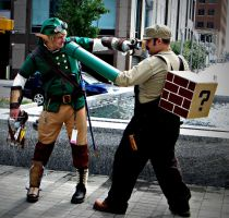 Link Vs Mario, Steampunk Style by Mechpics