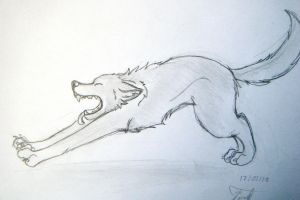 streaching wolf by morganwtb11