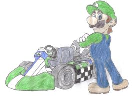 luigi and kart hand-drawn by aaronio999