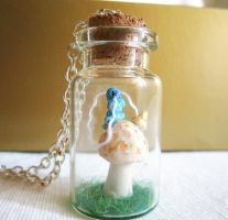 Hookah on the mushroom into a tiny jar necklace by FlowerLandBySaraMax