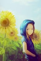 sun flower girl by Za-Leep-Per
