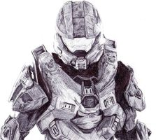 Master Chief Pen Drawing by demoose21