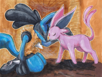 Commission: Lucario x Espeon by matsuyama-takeshi