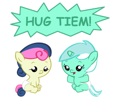 Lyra and Bon Bon: Hug Tiem by Bronyboy