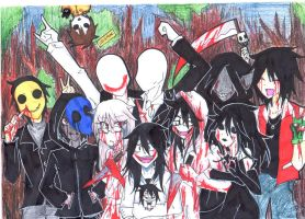Creepypasta family (CF Day 2) by servantofpsychotic