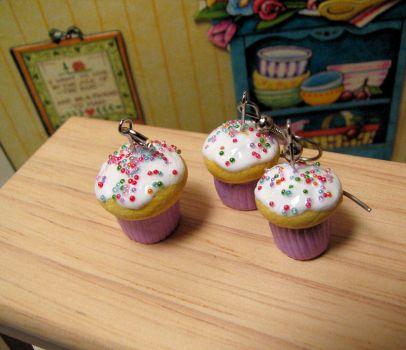 Yellow Confetti Cupcakes Trio by Miss-Millificent