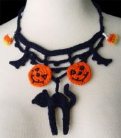 Crochet Halloween necklace by meekssandygirl