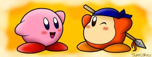 Kirby y Waddle Dee by SuperLakitu