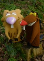 Angry Beavers Needle Felt Commission by Sarsie