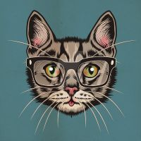 Cat with Glasses by MY-METAL-HAND