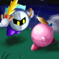 Meta Knight and Kirby by aquamizuko