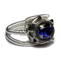 Cyberpunk ring Tanzanite Blue by CatherinetteRings
