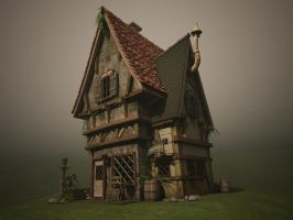 3D Old House Textured by Tavernier666