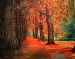 Fall Road in Oil Paint by Lukeira