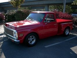 Very Red Chevrolet Stepside Pickup Truck by RoadTripDog