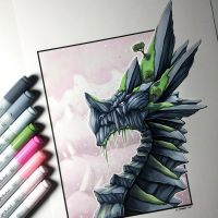Rock Dragon Drawing by LethalChris