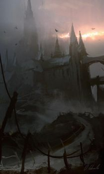 Castle in the fog by daRoz