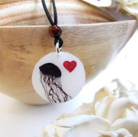 Jellyfish Heart necklace by KiriMothDesigns