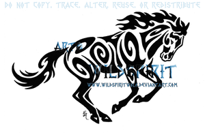 Tribal Running Horse Tattoo by WildSpiritWolf