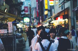 schoolgirls at Ameyoko market by DavidSchermann