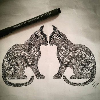 Zentangle Cats by miss-supernatural