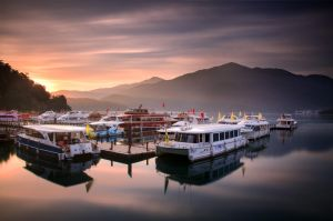 Sunrise at Sun Moon Lake by palmbook
