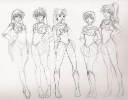 sailor scouts WIP by Liquid-KaKa