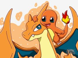 Charmander and Charizard Y by 29steph5