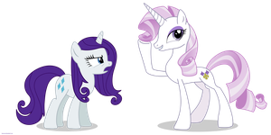 Fleur the posing pony and Rarity - PNG by Larsurus
