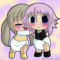 Comm: Maka and Crona Chibis by AD-SD-ChibiGirl