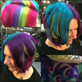 rainbow hair  by AngeLee-Loo