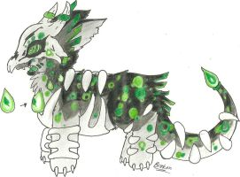 Green Spotted Fever Zomechor Adopt (CLOSED) by moonlighttouchesgir