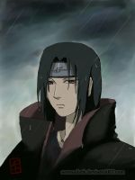 Itachi under the rain by SerenaDark