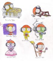 Kururu's personalities by evilbackpackgirl