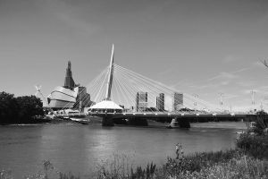 Esplanade Riel Bridge in Winnipeg BW by Joe-Lynn-Design
