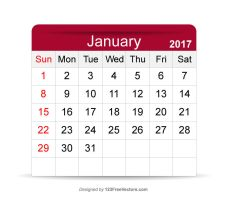 January 2017 Calendar Printable by 123freevectors