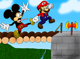 Mickey VS Super Mario by sonigoku