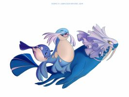 Spheal Sealeo and Walrein by francis-john