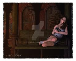 sitting on a bench by Ecathe