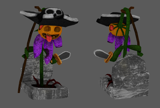 Pirate Zombie Flower Low Poly by Ppa000