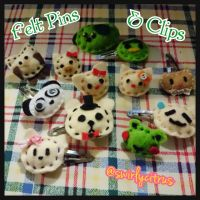 Felt Animal Pins and Clips by SwirlyCitrus