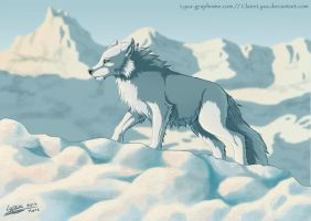Ghost Jon Snow's wolf by ClaireLyxa