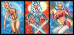 AHSOKA TANO PERSONAL SKETCH CARDS APRIL 2017 by AHochrein2010