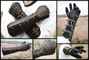 Dark Brown Rawhide Gauntlets by Adhras