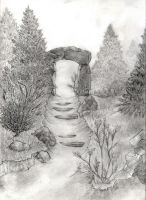 Unfinished drawing with rock archway by Malahhai