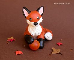 Red Fox with a fire sphere sculpture by SculptedPups