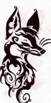 Tribal Fox Head by xXKouhaku-ChanXx