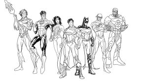 Justice League Line Art WIP (New 52 Super Seven) by randomality85