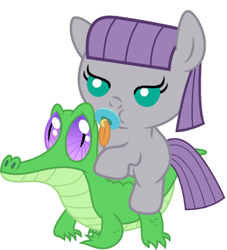 Maud Pie riding Gummy by red4567-2